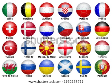Flags of participating teams with French text for the 2021 cup