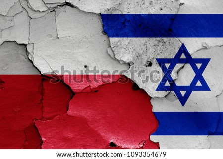 flags of Poland and Israel #1093354679