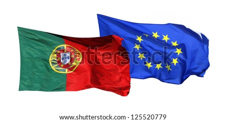 Flags of Portugal and EU, isolated on white background