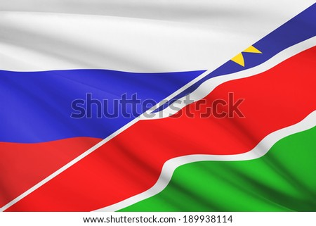 Flags of Russia and Republic of Namibia blowing in the wind. Part of a series.