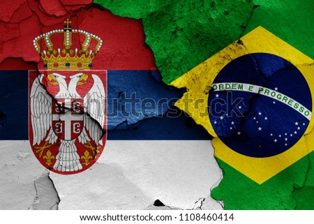 flags of Serbia and Brazil #1108460414