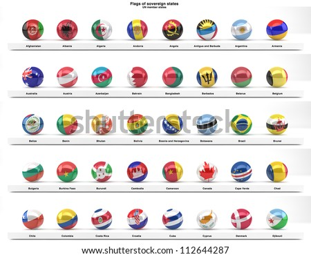 Flags of sovereign states projected as spheres on a white background. All UN member states. Part of a series. See portfolio for other flag series.