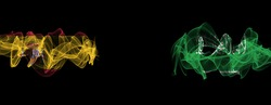 Flags of Spain and Saudi Arabia on Black background, Spain vs Saudi Arabia Smoke Flags