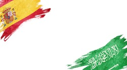 Flags of Spain and Saudi Arabia on White Background
