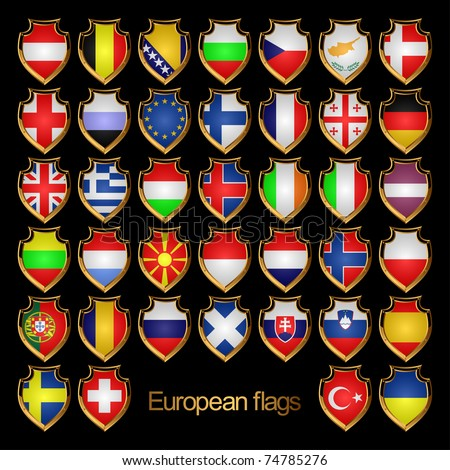 Flags of the Countries of Europe. Flags are Executed in the form of Badges. EPS version is available as ID  72538855.