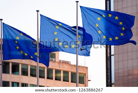 Flags of the European Union in Brussels. 17-12-2018 #1263886267