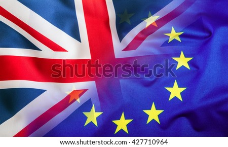 Flags of the United Kingdom and the European Union.