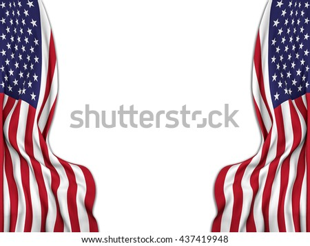 Flags of the United States moved to make room to a white background-3D rendering #437419948