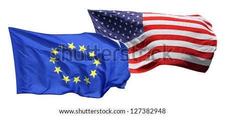 Flags of the United States of America and EU, isolated on white background