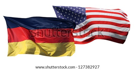 Flags of the United States of America and Germany, isolated on white background