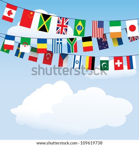 Flags of the World bunting on cloud background with space for your text.Also available in vector format