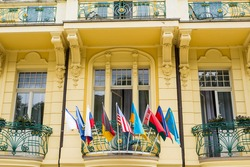 Flags of the World in front of a Buiding