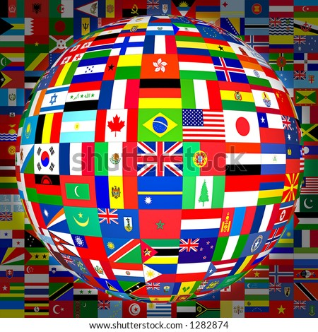 Flags of the world in globe format (with background). - stock photo