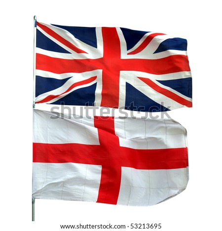 Flags of UK and England - isolated over white background - stock photo