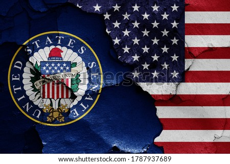 flags of United States Senate and USA painted on cracked wall Foto stock ©