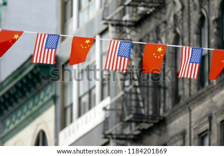 Flags of USA and China Hanging Next to Each Other in Chinatown, New York, USA #1184201869