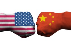 flags of usa and china on punch, on white backgrounds, usa vs china concepts