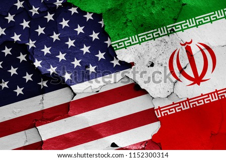 flags of USA and Iran #1152300314