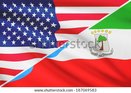 Flags of USA and Republic of Equatorial Guinea[sh blowing in the wind. Part of a series.