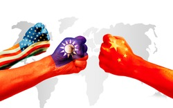 Flags of usa or United States of America, Taiwan and China on hands punch to each others on light gray world map background, USA and Taiwan vs China in World political war concept