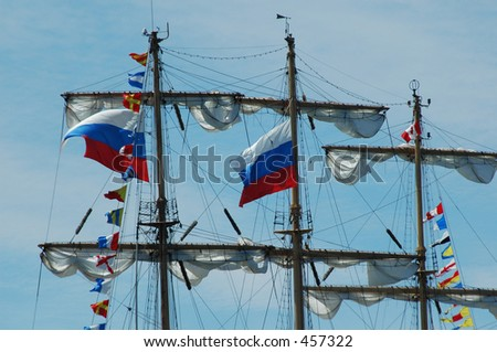 Flags on masts of tall ships