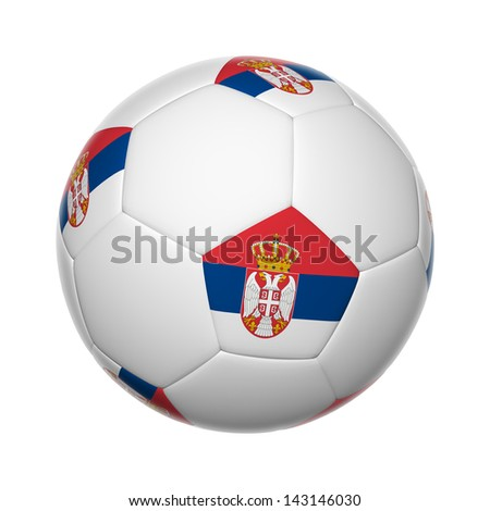 Flags on soccer ball of Serbia