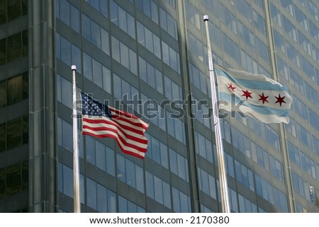 Flags outside the Sears Tower