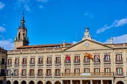 Flags waving in Plaza de España in Vitoria-Gasteiz