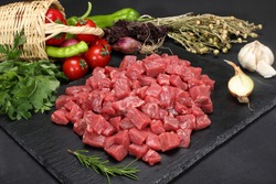 flaked veal raw chopped meat