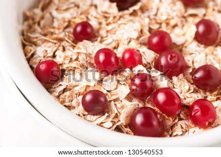 Flakes with cranberries closeup