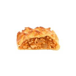 Flaky crust and a spiced apple filling, traditional Apfelstrudel or Strudel isolated on white. Strudel most delicious fall and winter dessert, food for Christmas, and other holidays.