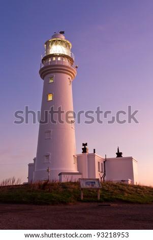 Flamborough Head lighthouse at dawn