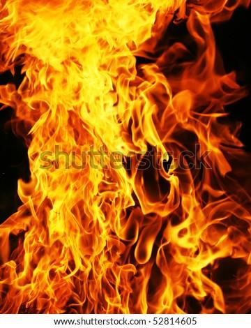 Flame burning on black background