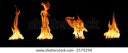 flame burning (4 pictures of the same item  put together) - stock photo