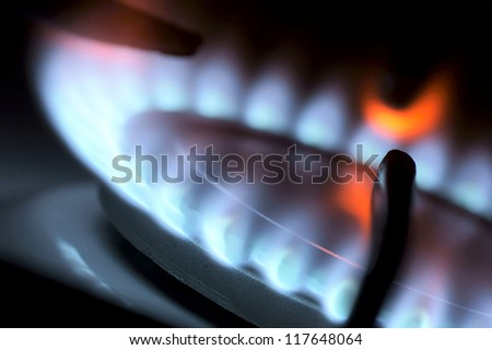 Flame from a gas stove abstractly.