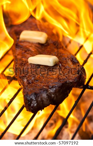 Flame grilled sirloin steak with butter