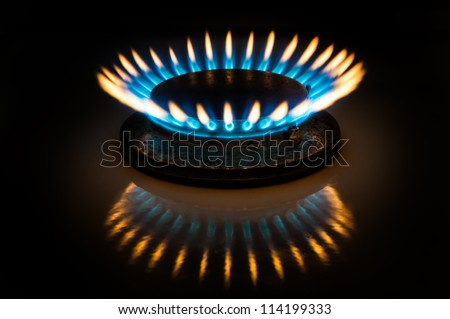 Flame of gas burner forming crown form in dark.