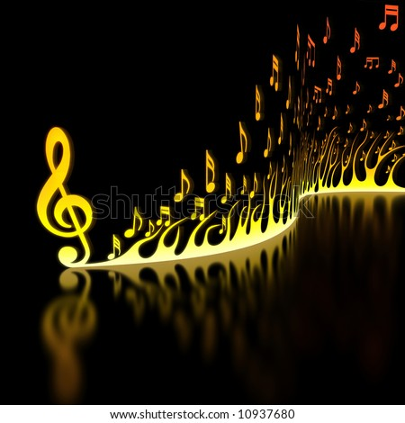 Flame of Musical Notes - stock photo