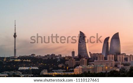 Flame towers are modern architecture in Baku, Azerbaijan.