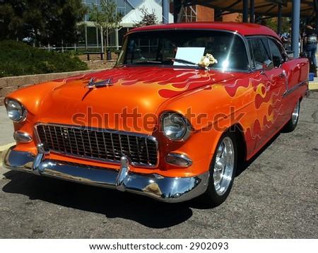 flamed classic hotrod car