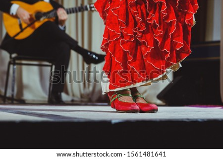 Flamenco dancer legs in red shoes on stage Foto stock ©