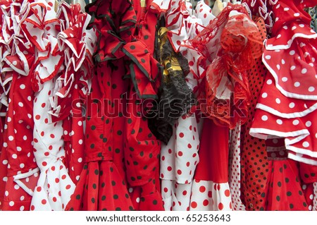 flamengo dresses in variuous colors in Andalusia,Spain - stock photo