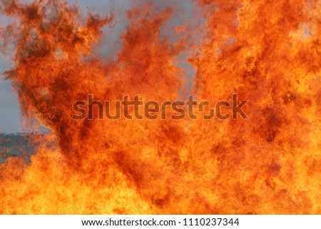 flames at a fire service drill