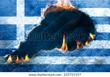 Flames burning through Flag of Greece