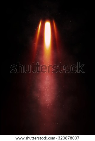 Flames erupt from a rocket