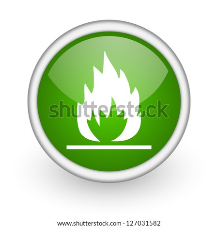 flames green circle glossy web icon on white background