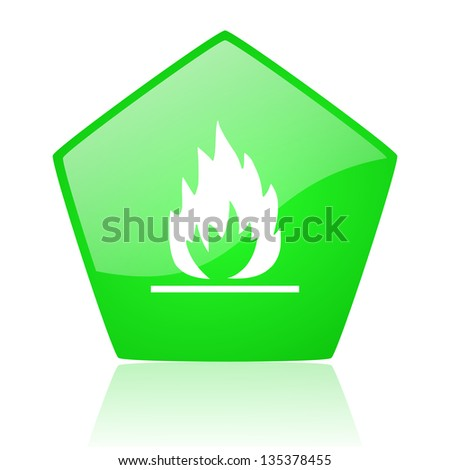 flames green pentagon web glossy icon