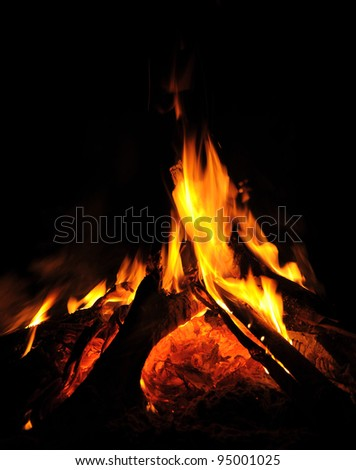 flames of a campfire in the night