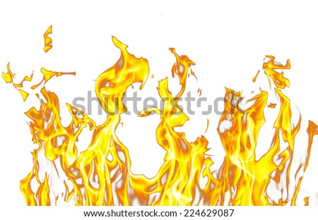 flames of a fire on a white background