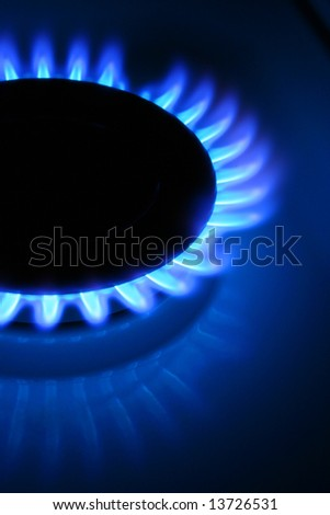 Flames of gas, isolated on black background